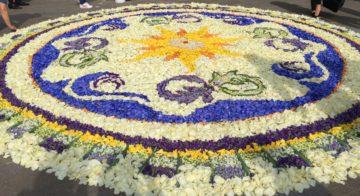 Mandal con petali freschi -il fluire sacro della vita